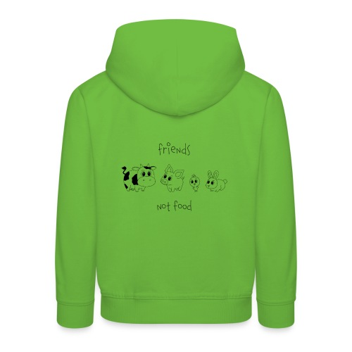 Friends, not food! (Schwarz) - Kinder Premium Hoodie