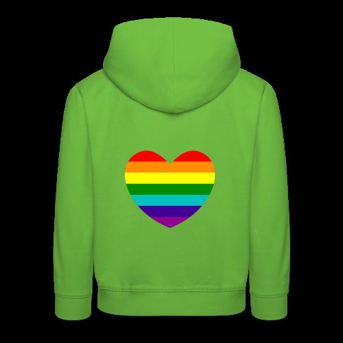 Hart in regenboog kleuren - Kinderen trui Premium met capuchon
