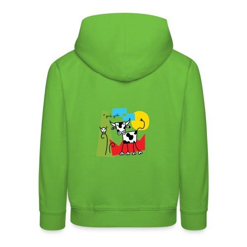 vache-noir-et-blanc et couleurs - Pull à capuche Premium Enfant