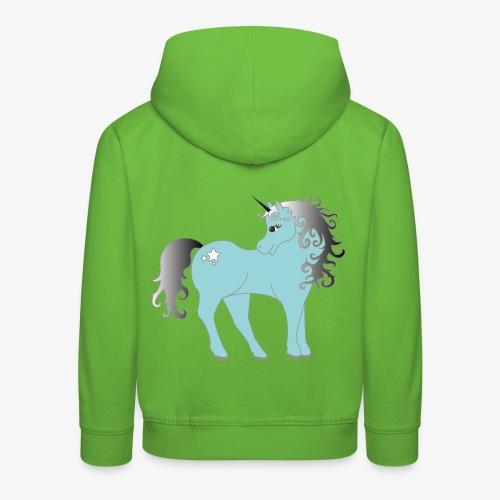 blaues Einhorn - Kinder Premium Hoodie