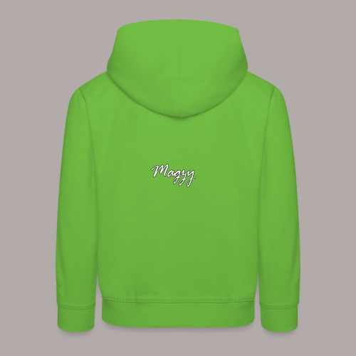 magzy white and black outline writing - Kids' Premium Hoodie