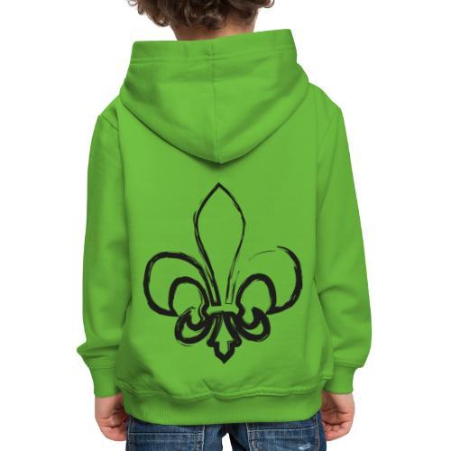 Pinselzeichnung Lilie – Schwarz - Kinder Premium Hoodie