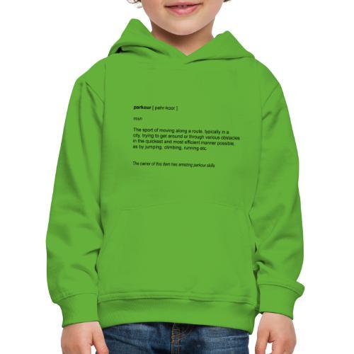 parkour dictionay - Premium hættetrøje til børn