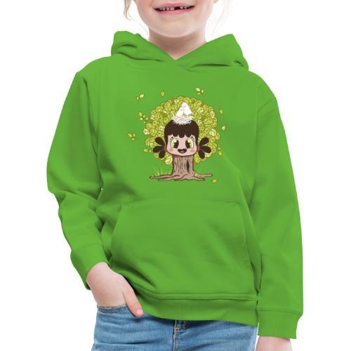 Baum-Mädchen mit Vogelnest - Kinder Premium Hoodie