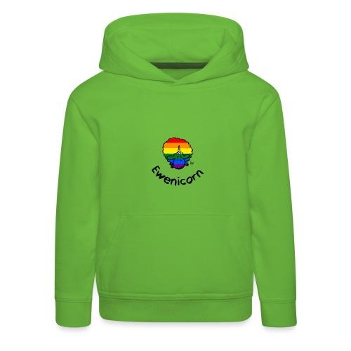 Rainbow Ewenicorn - it's a unicorn sheep! (text) - Kids' Premium Hoodie