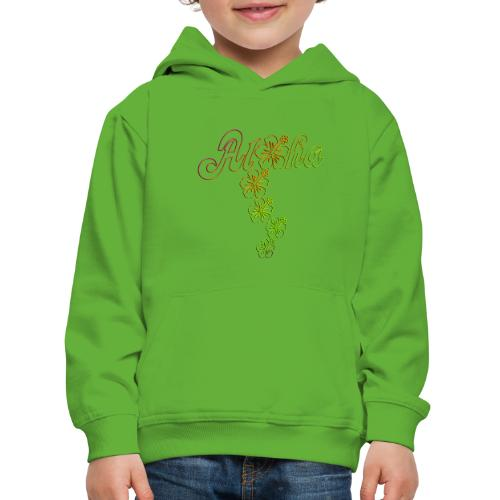 Aloha Hibiscus Blossoms - colored outlines - Kinder Premium Hoodie