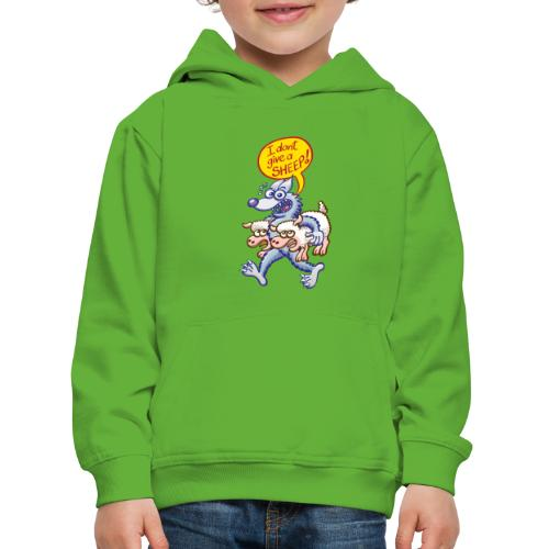 Bad blue wolf says I don't give a sheep - Kids' Premium Hoodie