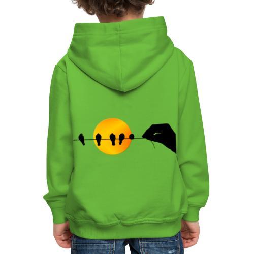 Una mano que sostiene pájaros. - Sudadera con capucha premium niño