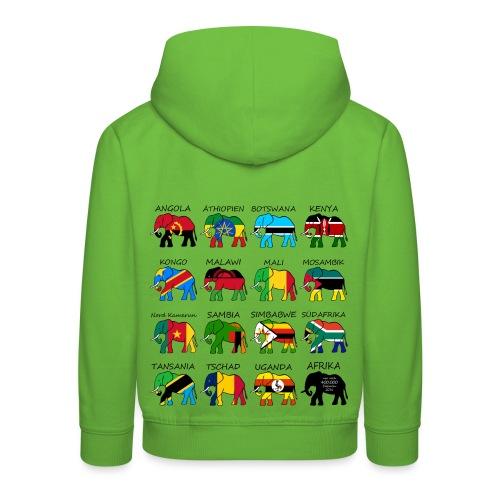 ELEFANTEN AFRIKAS mit Flaggen - Kinder Premium Hoodie