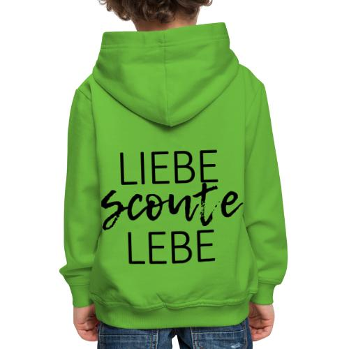 Liebe Scoute Lebe Lettering - Farbe frei wählbar - Kinder Premium Hoodie