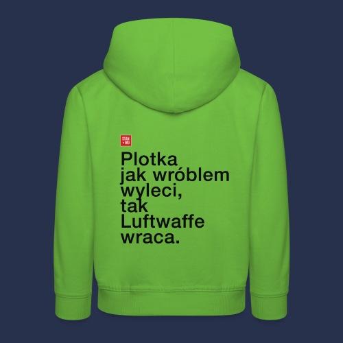 PLOTKA - napis ciemny - Bluza dziecięca z kapturem Premium