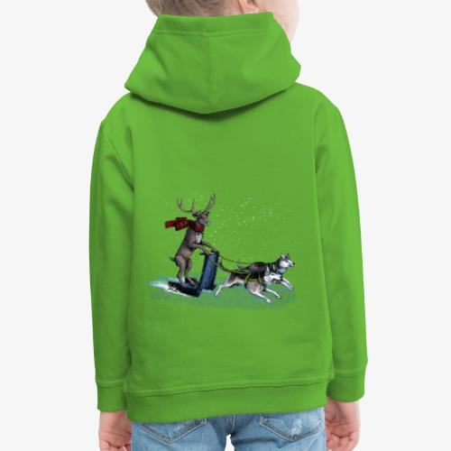 Reindeer sledge pulled by Huskies - Kids' Premium Hoodie