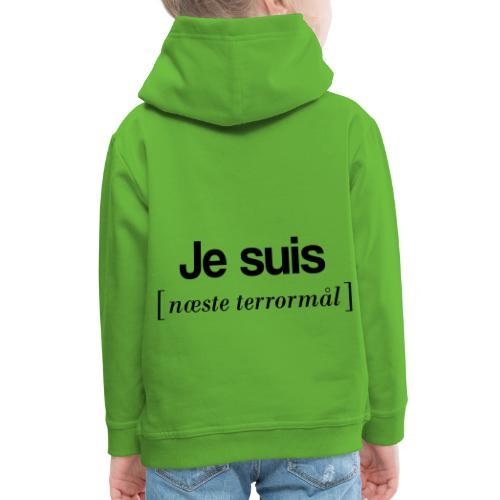 Je suis (sort skrift) - Premium hættetrøje til børn