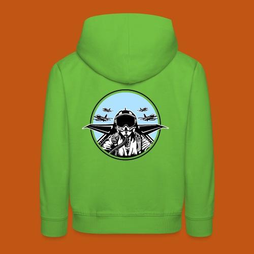 Jet Pilot / Kampfpilot 01_weiß Schwarz - Kinder Premium Hoodie