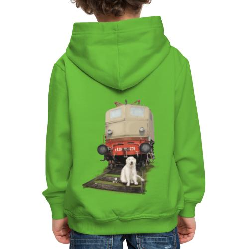 Golden Retriever with Train - Felpa con cappuccio Premium per bambini