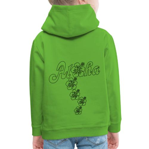 Aloha Hibiscus Blossoms - black outlines - Kinder Premium Hoodie