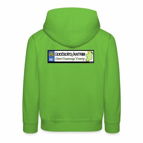 CO. ANTRIM, NORTHERN IRELAND licence plate tags - Kids' Premium Hoodie