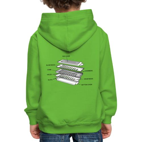 Exploded harmonica - black text - Kids' Premium Hoodie