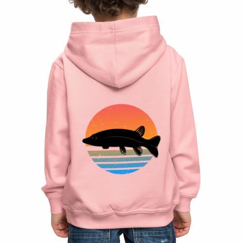 Retro Hecht Angeln Fisch Wurm Angler Raubfisch - Kinder Premium Hoodie