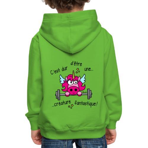 Licorne Muscu Créature Fantastique - Pull à capuche Premium Enfant