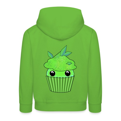 Green Kawaii Cupcake with mint or green tea leaf - Kids' Premium Hoodie