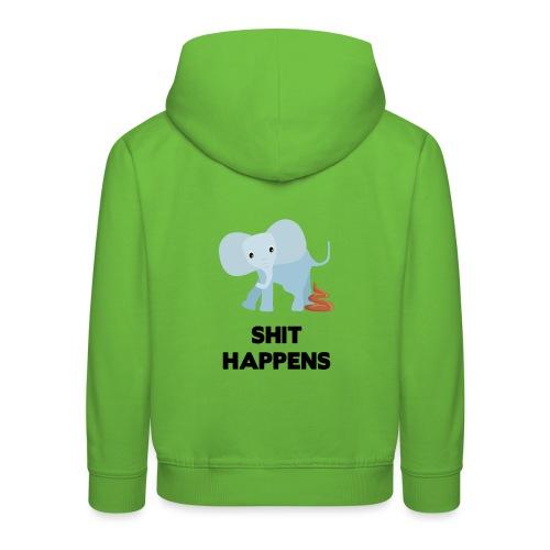 olifant met drol shit happens poep schaamte - Kinderen trui Premium met capuchon