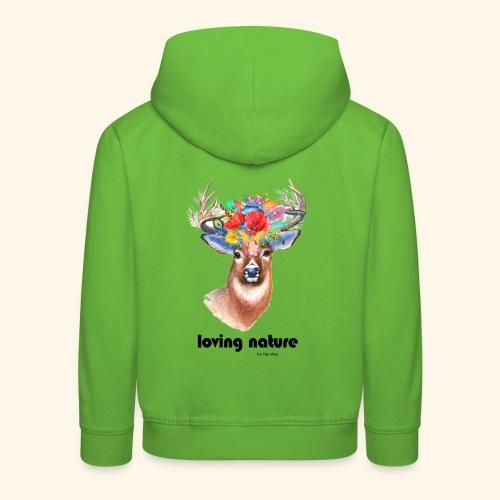 Ciervo con flores - Sudadera con capucha premium niño
