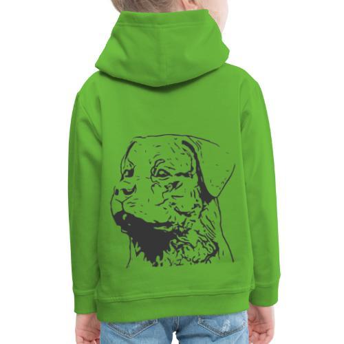 Rottweiler Portrait Grafik schwarz - Kinder Premium Hoodie