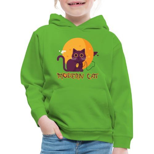 gatto moderno animale topo luna arte animale domestico - Felpa con cappuccio Premium per bambini