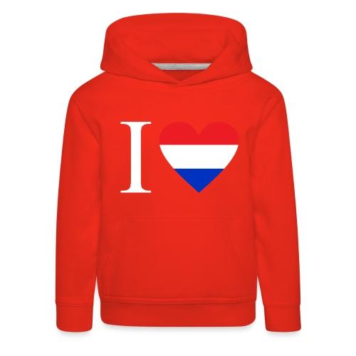 Ik hou van Nederland | Hart met rood wit blauw - Kinderen trui Premium met capuchon