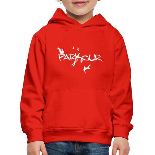 Parkour White Print - Premium hættetrøje til børn