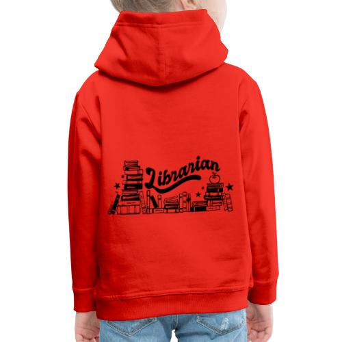 0321 Books Librarian stack of books funny - Kids' Premium Hoodie