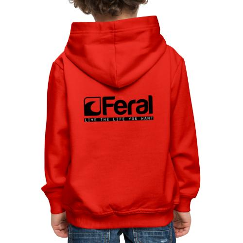 Feral Surf - Live the Life - Black - Kids' Premium Hoodie