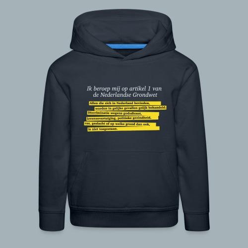 Nederlandse Grondwet T-Shirt - Artikel 1 - Kinderen trui Premium met capuchon