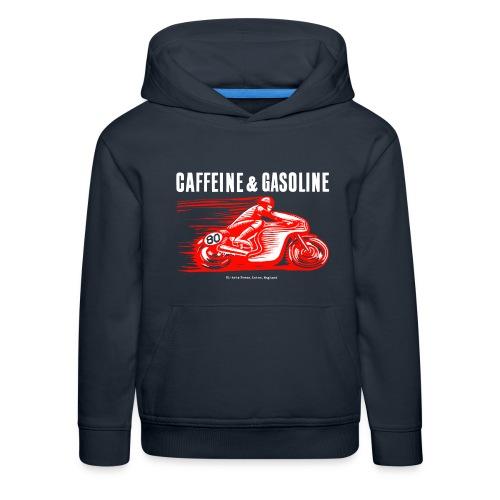 Caffeine & Gasoline white text - Kids' Premium Hoodie