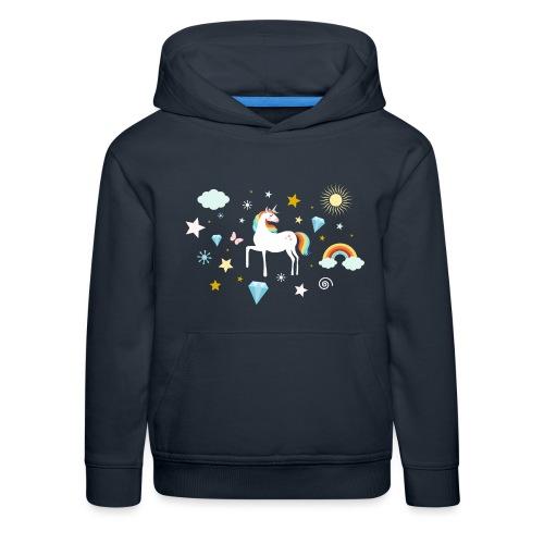 Einhorn Traumwelt Chaos Rainbow Unicorn Sterne - Kinder Premium Hoodie