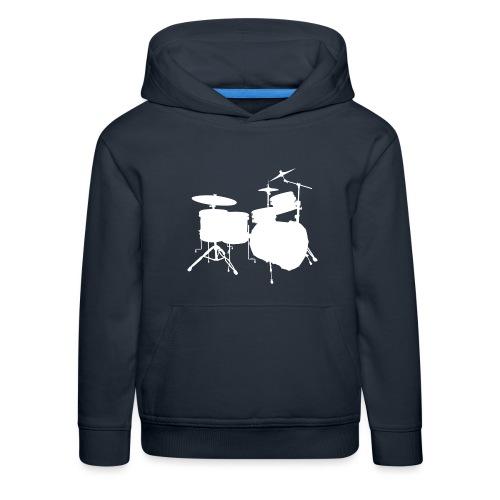 Drumset 2 Kontur weiß - Kinder Premium Hoodie