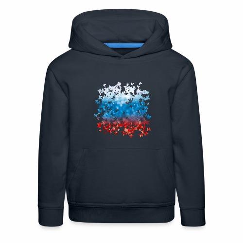 06 Russland Flagge Fahne Russia Schmetterlinge - Kinder Premium Hoodie