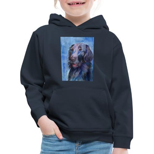 flatcoated retriever - watercolor - Premium hættetrøje til børn