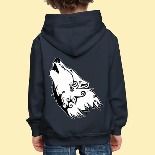 Le Loup de Neved (version contour blanc) - Pull à capuche Premium Enfant