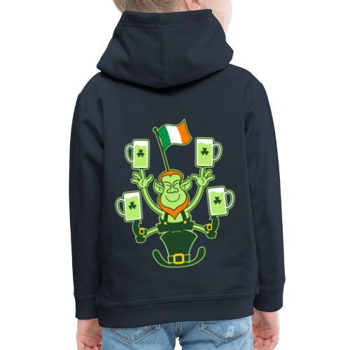 Leprechaun Juggling Beers and Irish Flag - Kids' Premium Hoodie