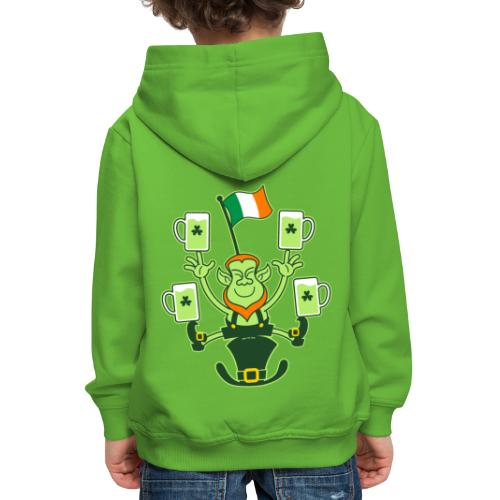 Leprechaun Juggling Beers and Irish Flag - Kids' Premium Hoodie