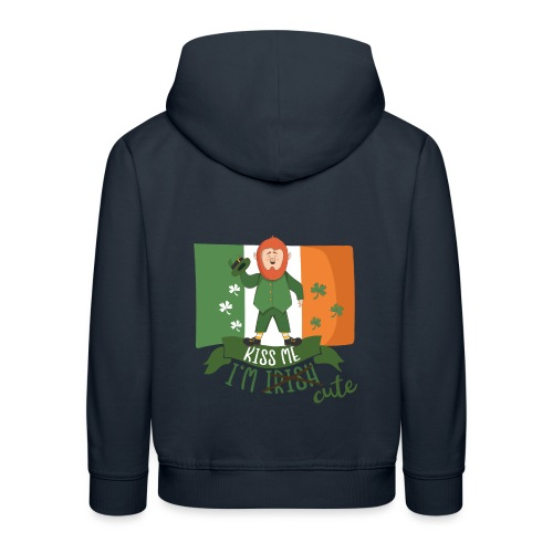 Kiss Me I'm Irish and Cute - Funny Leprechaun - Kids' Premium Hoodie