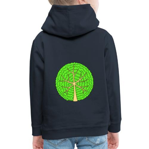 Baum, rund, hellgrün - Kinder Premium Hoodie