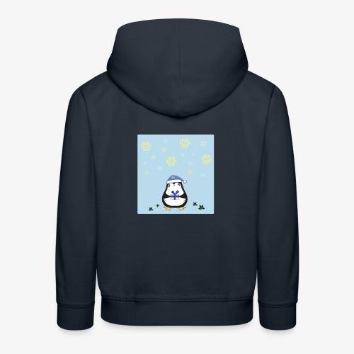 pingouin de Noel sur fond bleu - Pull à capuche Premium Enfant