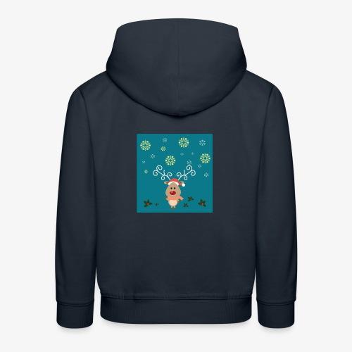 petit cerf fond bleu - Pull à capuche Premium Enfant