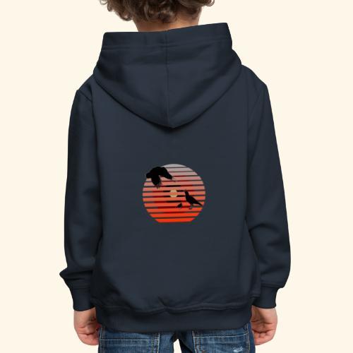 Raben, Vogel Familie im Retro Design - Kinder Premium Hoodie