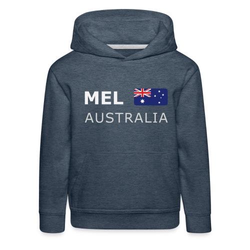 MEL AUSTRALIA white-lettered 400 dpi - Kids' Premium Hoodie