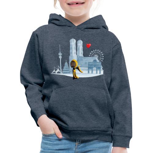 Skyline München mit Münchner Kindl und Herz - Kinder Premium Hoodie