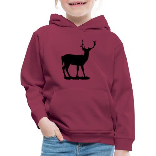 Silueta ciervo en negro - Sudadera con capucha premium niño